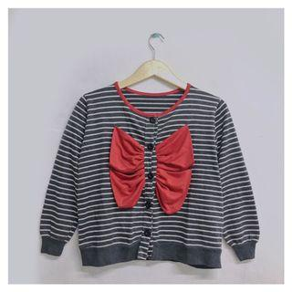 Cardigan Stripes Pita Merah
