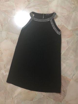 Woman black shirt dress, great for night evening dinner