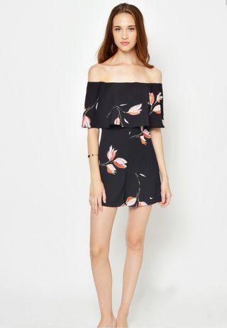 L&B Krissy Floral OffShoulder Playsuit in Black