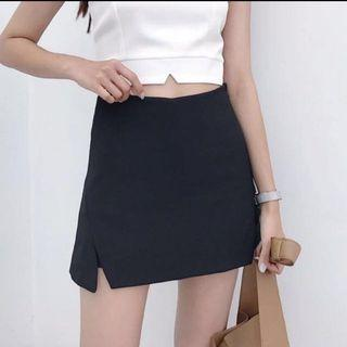 black slit aline skirt ulzzang