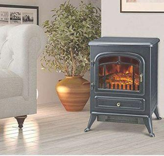 "HomCom 16"" 1500W Free Standing Electric Wood Stove Fireplace Heater - Black"