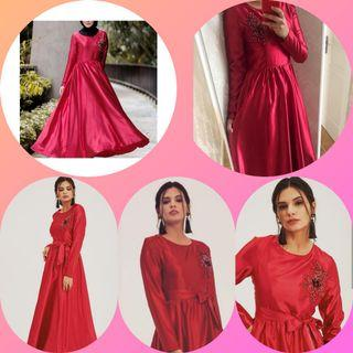 🚚 Nadya Fit & Flare Satin Dress- Red