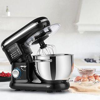 ALBOHES Stand Mixer, 600W 6 Quart 6-Speed Tilt-Head Dough Mixer, Electric Kitchen Mixers Food Mixer with Stainless Steel Bowl, Dough Hook, Whisk, Flat Beater, Pouring Shield (Black)