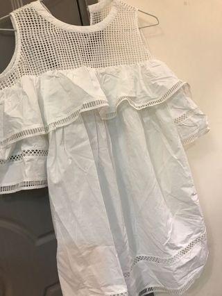 White cold shoulder ruffle dress