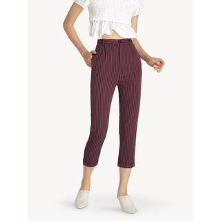 Pomelo Maroon Stripe High Waist Cropped Pants