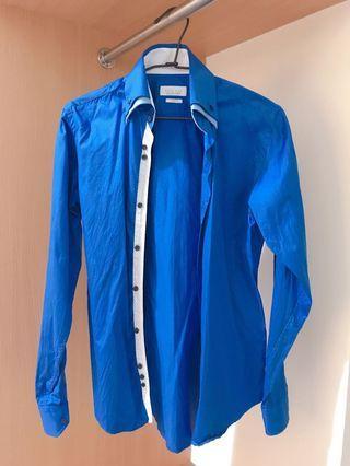 ZARA slim fit 寶藍襯衫 雙色領