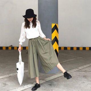 E79938 新款文藝日系純色口袋工裝闊腿褲