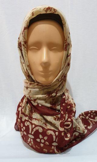 (Used) jilbab merah krem motif abstrak