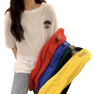 [希希家]韓版 短袖T恤 五色可選 春夏季T恤 短袖上衣 女生衣著 韓版寬鬆 閨蜜裝 刺繡短袖女T恤上衣寬鬆 女生衣著 卡通上衣 動漫迷 班服 團體服 姐妹裝 輕薄透氣