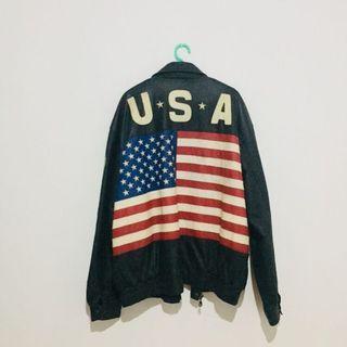 Full leather USA Authentic flag jacket