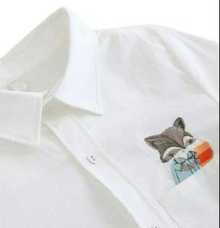 Women Long Sleeve Shirt Ladies Turn Down Collar Cotton Blouse Animal Embroidery Female Shirt