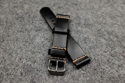 Horween Chromexcel Black Leather Watch Strap