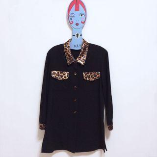 🌙古著黑色豹紋拼接厚棉高質感墊肩復古襯衫•Vintage