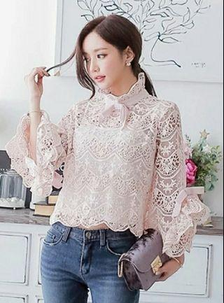 Hollow Out Flare Sleeve Woman Shirt Bow Lace Elegant Ladies Blouse Turleneck