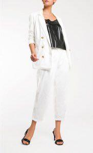 Reese Double Breasted Suit Blazer & Belted Pants in White
