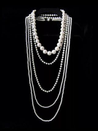 Vintage Multi Layer Simulated Pearl Necklace Women Long Chain