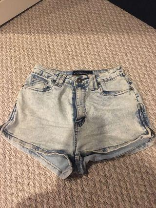 Light blue high waisted denim shorts