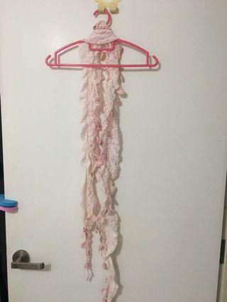 Pink lace crochet scarf