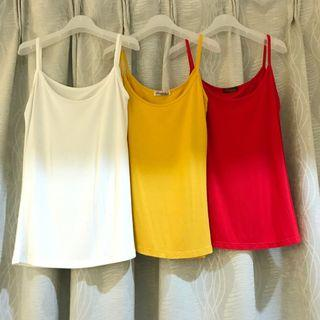 3 Pieces of Spaghetti Strap Singlet Top in White Red Yellow Stretchable Soft Cotton