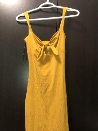 F21 mustard tie up dress