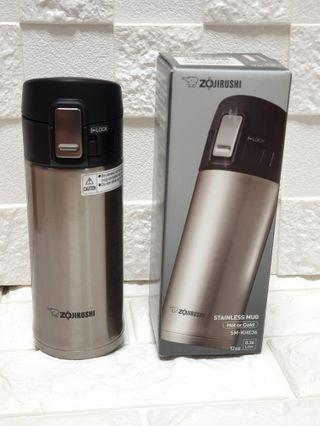 Special Imported model: Zojirushi Stainless Steel Natural Silver Mug 360ml (Full Inner And Outer Stainless Steel); 6.5cm by 6.5cm by 18.5 cm; 210grams