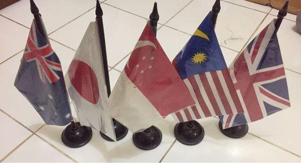 Bendera Meja 5 Negara Australia Japan Singapore Malaysia United Kingdom