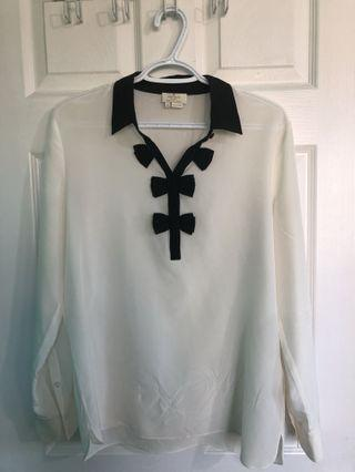 kate spade bow placket silk top