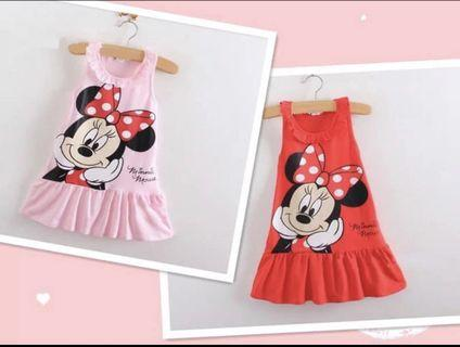 Minnie Mouse Dress size 120 for 4-5yr old girls clothes dress pink red children kids wear cotton