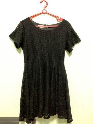 🔥 Black Babydoll Crochet Dress