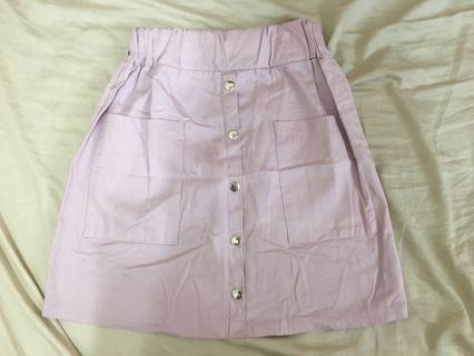紫粉排扣鉛筆裙(鬆緊)S