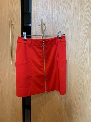 NEW NAKD FASHION RED HIGH WAISTED ZIP MINI SKIRT XS -S