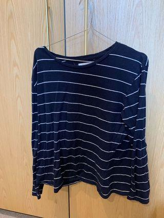 WORN ONCE ASSEMBLY LABEL CASUAL LONG SLEEVE T SHIRT NAVY PINSTRIPE WILL FIT XS -L