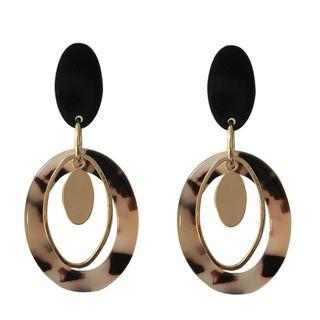 Pre order Marble with gold details loop earrings