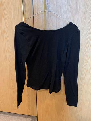 NEW GLASSONS BLACK LONG SLEEVE TOP WITH LOW BACK SIZE M