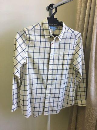 Uniqlo X Ines De La Fressange Cotton Lawn Long Sleeve Shirt Off-white / Beige and Blue Checked Shirt