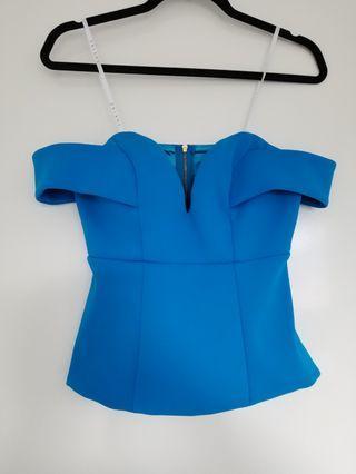 Sheike blue bardot top size 8