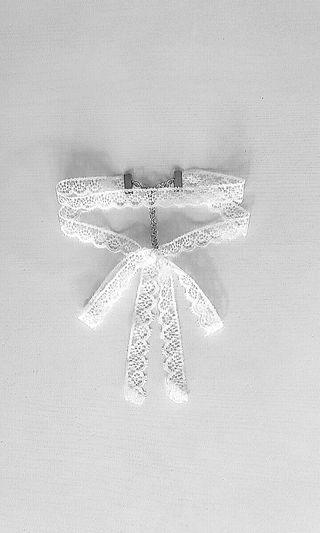 Handmade Double Layered White Lace Choker with Bow