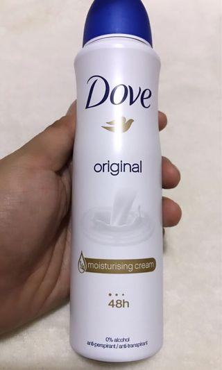 DOVE ORIGINAL ANTI -PERSPIRANT 48hrs moisturising Cream 0% alcohol .