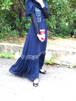 Nichii lace navy blue sleeveless dress #junetogo #mgag101