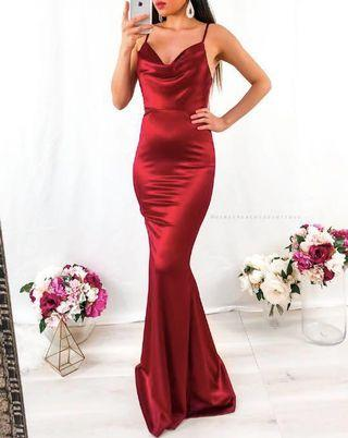 renting red satin formal dress