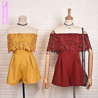 Mustard & Maroon lace off shoulder romper SGD20 each