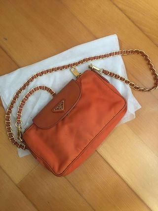 Prada orange bag (little chain bag)