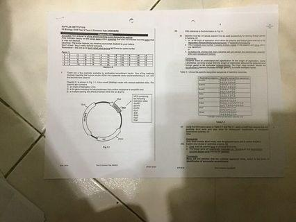 RI H2 Biology Test Papers + Full Printed Solutions