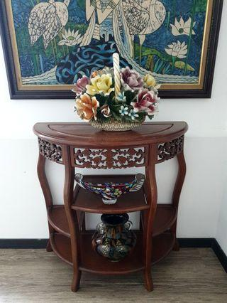chinese vintage half moon table wood cherry blossom