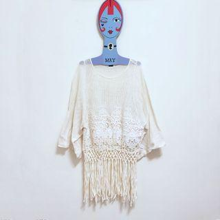 🌙ZARA白色簍空流蘇七分袖上衣•Vintage