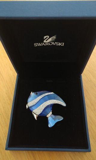 Swarovski Colina Blue Fish Brooch/Pin 99.9% new