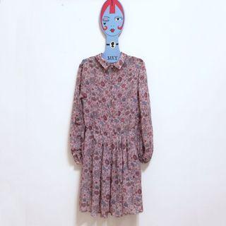 🌙日本帶回古著碎花長袖粉色雪紡洋裝•Vintage