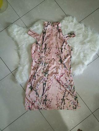 Sweet pink satin polyester Cheongsam l size #MGAG101