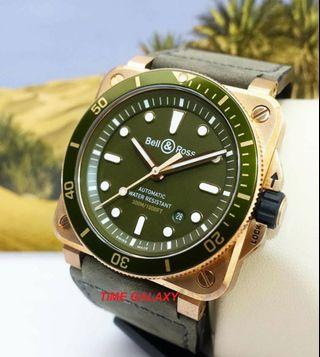 New Arrival BELL & ROSS BR03-92 DIVER GREEN BRONZE 42mm Auto watch
