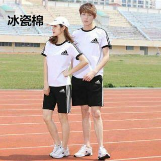 Adidas 愛迪達 套裝(上衣+短褲)情侶套裝 男 女 短袖 短T 運動上衣 運動褲